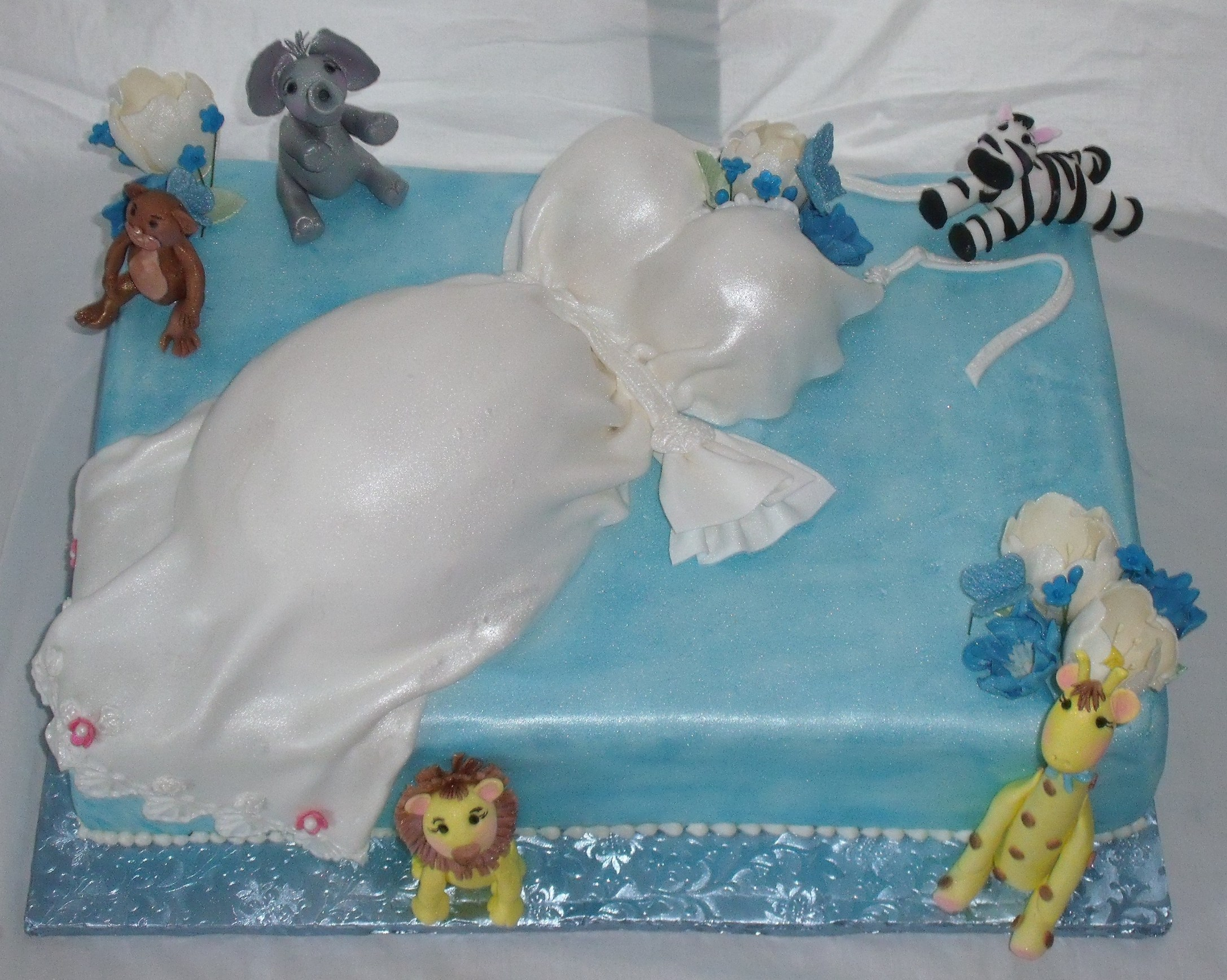 Pregnant Baby Shower CakeWith Jungle Animals