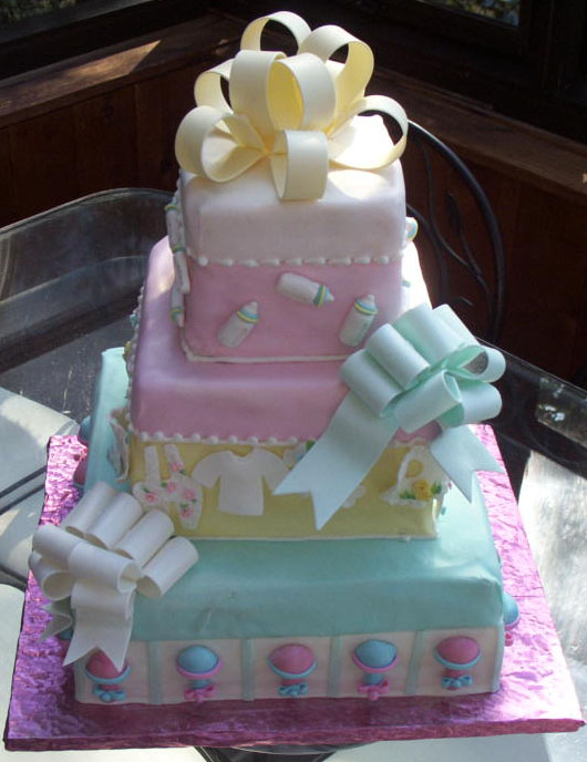 Baby Shower cake as tiered presents