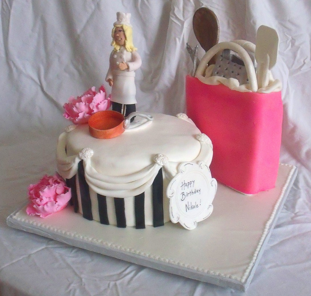 Http Tanyacakes Com Gallery3 Index Php Specialty Cakes Album176 Chefcookingkitchenthemepeonyblackpinkcakeview3