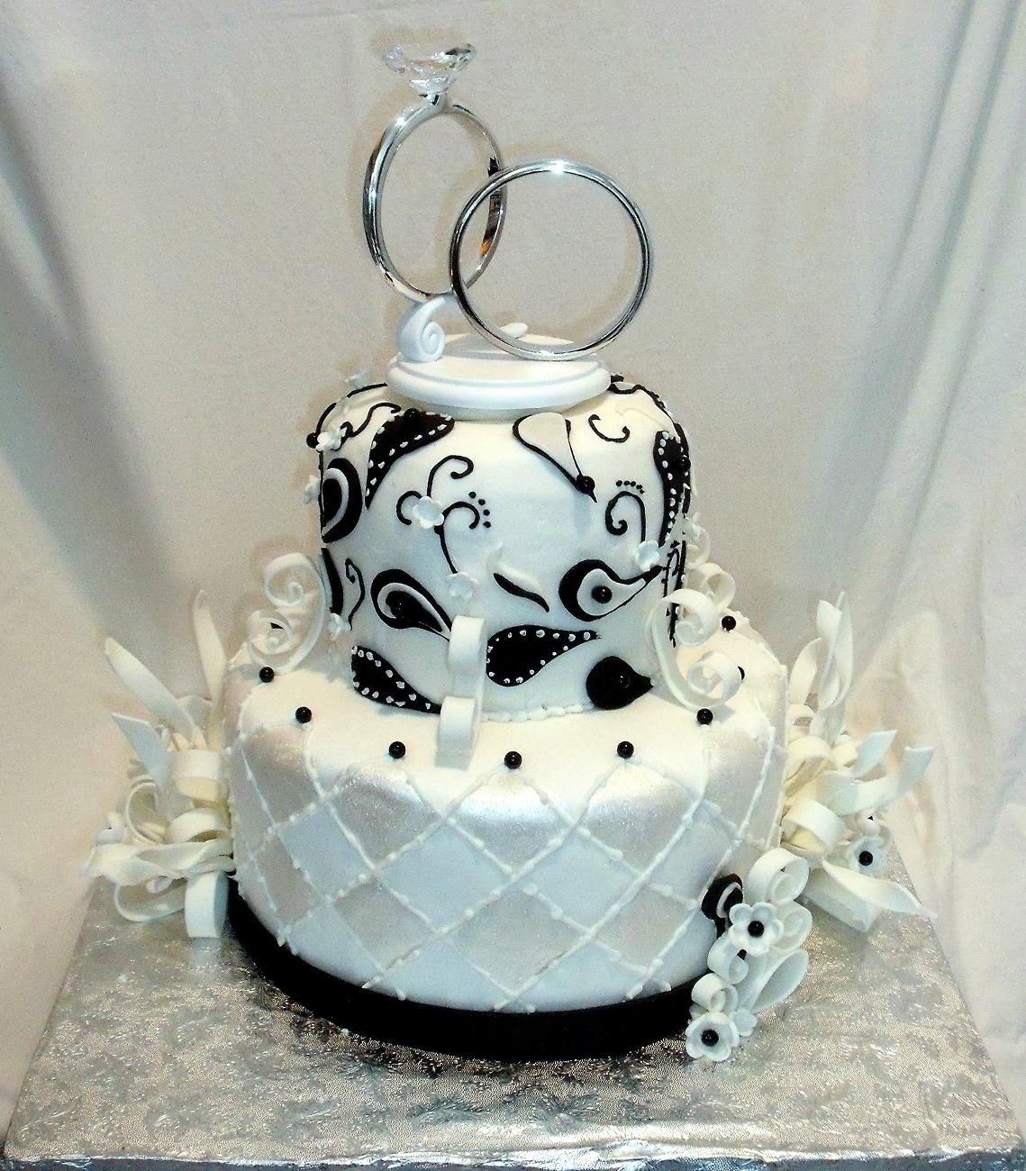 Anniversary Paisley Streamers Black White Fondant Cake Main
