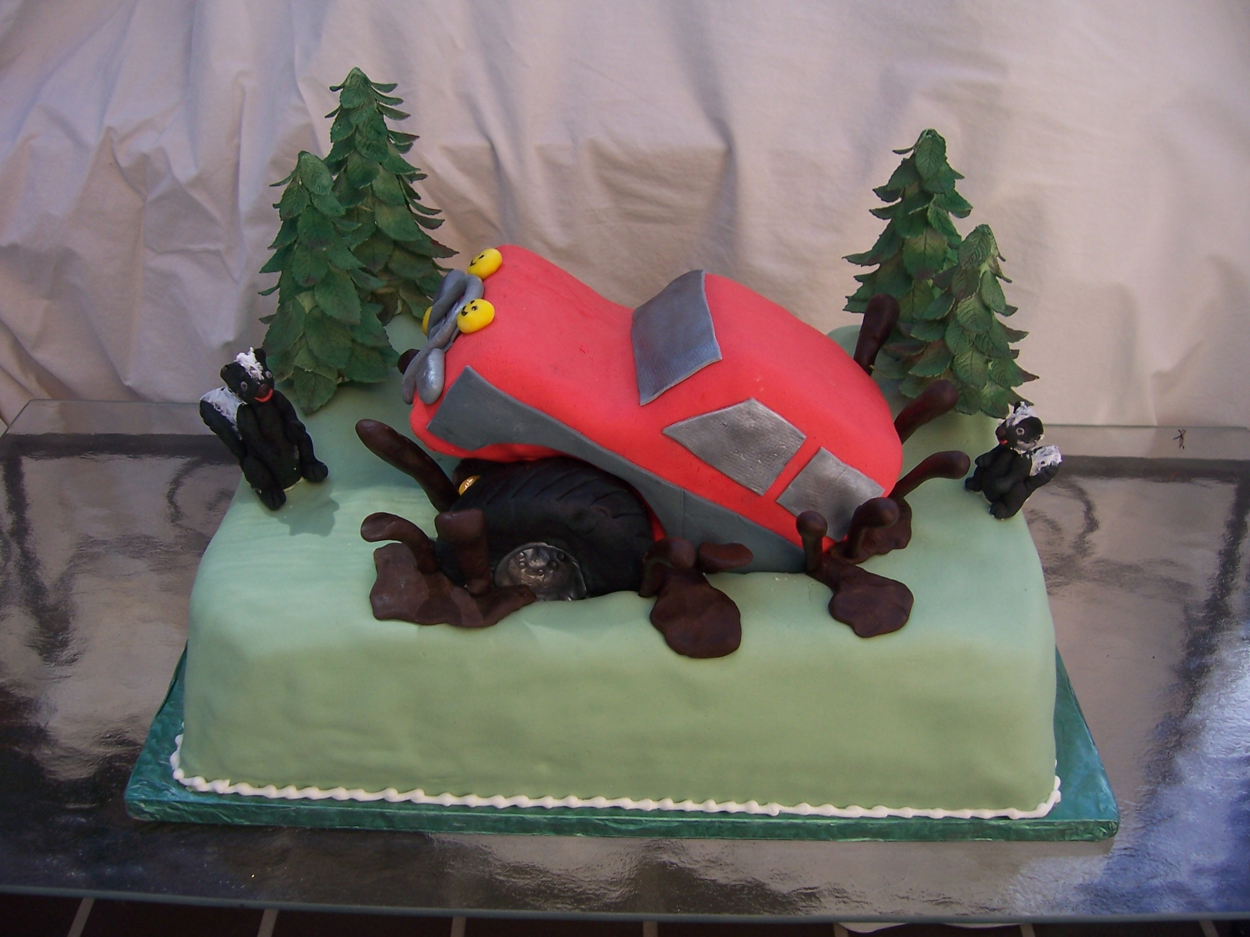Groom S Cake With Off Road Truck In Chocolate Mud Main View