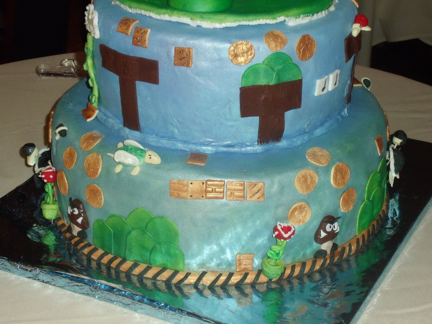 Mario Video Game Theme Wedding Cake Bottom Tier Close Up 2