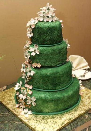 Green And Ivory Ombre Wedding Cakes