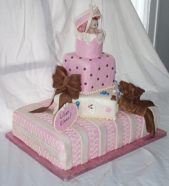 Baby Shower Tiered cake side view