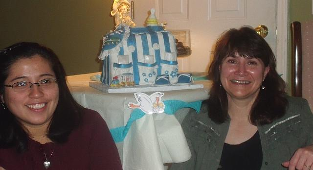 Debbie Moran and Diana Moran with cake