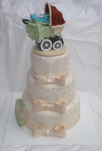 Baby Shower Cake in Ivory with old fashioned or old time carriage main view