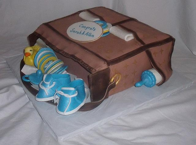 Louis Vuitton Baby Bag Cake with Gumpaste Duck, Baby Rings, Shoes, and Rings main view