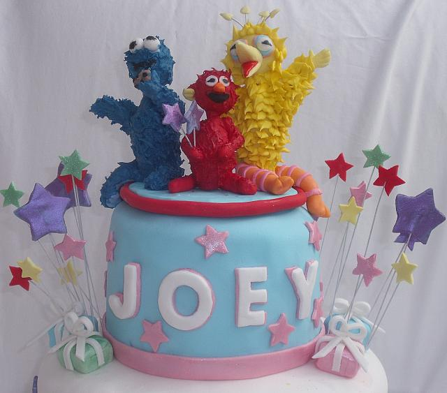 SesameStreetBirthdayCakeForChildGumpasteFigureCloseups