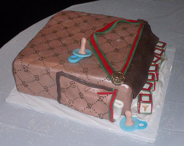 Gucci Baby Diaper Bag Cake for Baby Shower side view