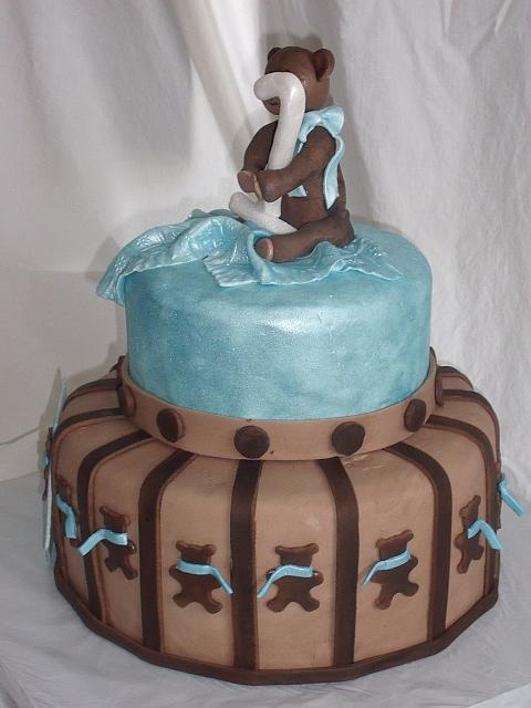 Blue and Brown Teddy Bear Themed Baby Shower Cake designed by Kate Nearpass main view