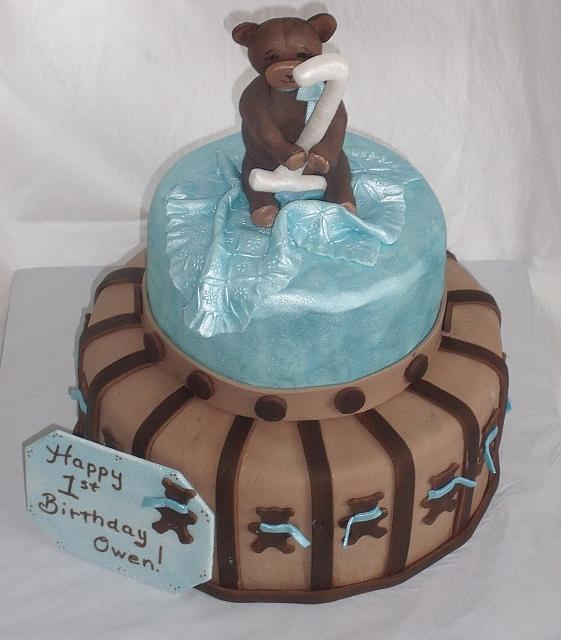 TBlue and Brown Teddy Bear Themed Baby Shower Cake designed by Kate Nearpass view 1