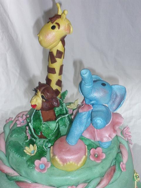 Safari Or Zoo Edible Gumpaste Giraffe, Monkey, and Circus Elephant view 2