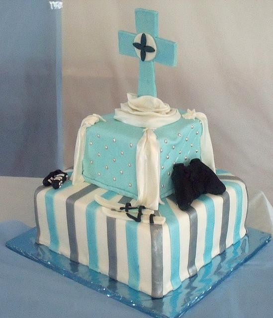 First Communion For Boy Cake side1 view