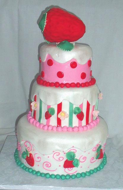 Strawberry Shortcake Themed Tiered Cake view 1