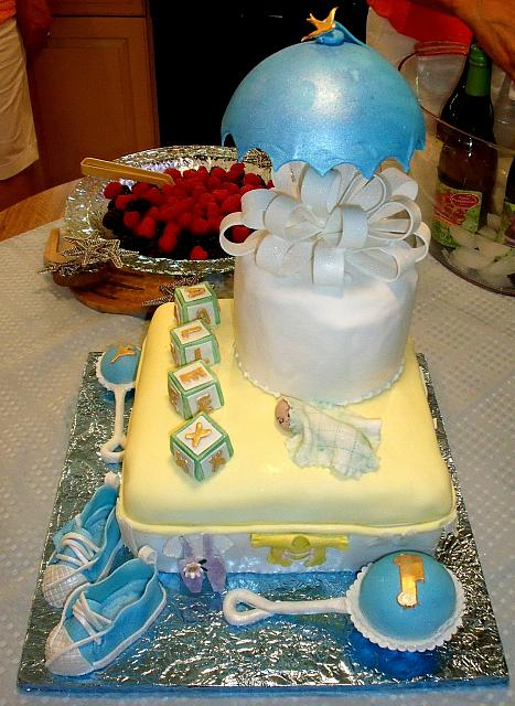 Baby Shower Cake For Boy with Sneakers, Baby Rattle, Umbrella, Baby Blocks, Baby Sleeping side 1