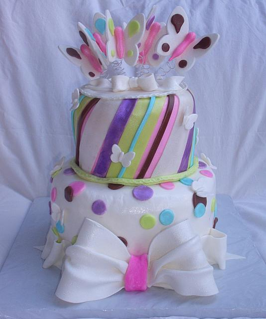 Butterfly Stripes Dots Bows Whimsical Cake main view