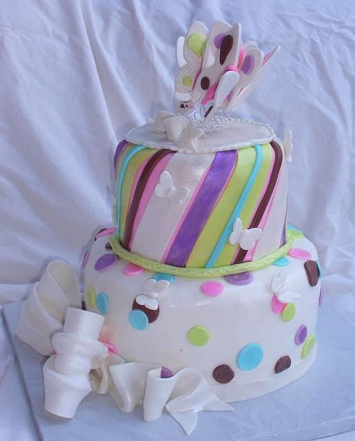 Butterfly Stripes Dots Bows Whimsical Cake side view