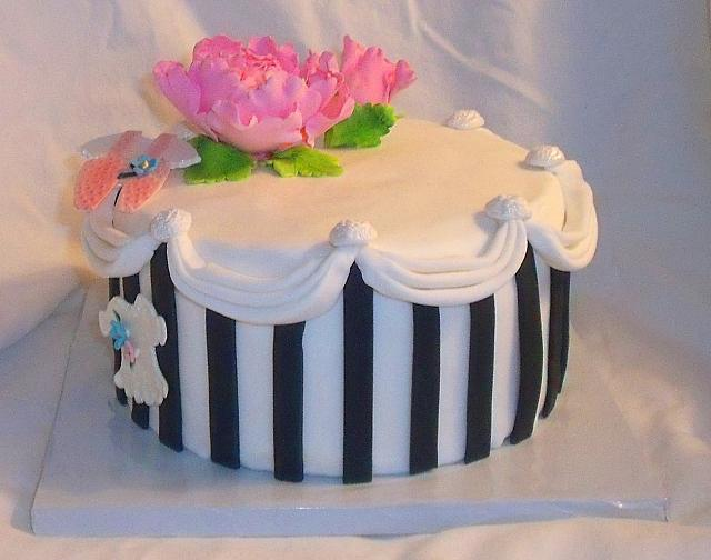 Baby Shower Cake with Paris Style Hatbox, Peony, and Baby Clothes main view