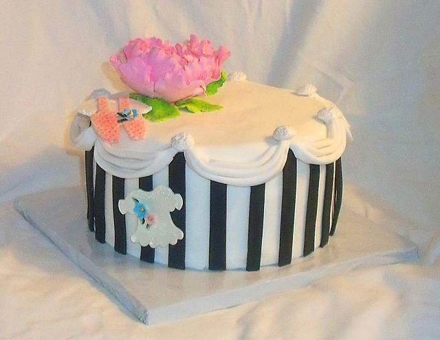 Baby Shower Cake with Paris Style Hatbox, Peony, and Baby Clothes view 2