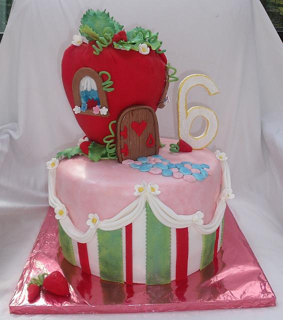 Strawberry Shortcake Theme House Cake Front View