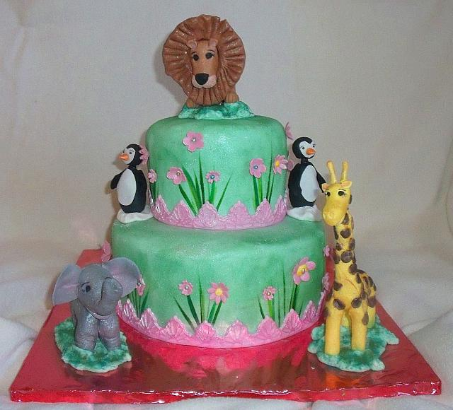Zoo Animals Birthday Cake with Pink Flowers And Grass Side Design front