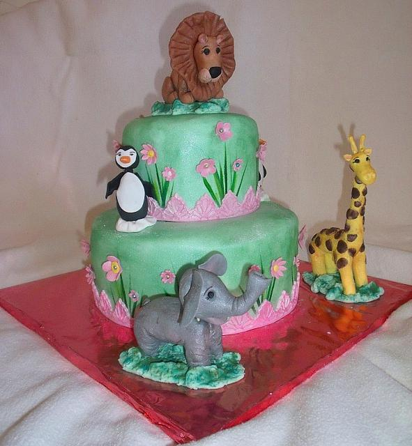 Zoo Animals Birthday Cake with Pink Flowers And Grass Side Design view 2