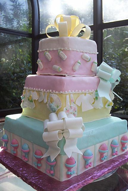 Baby Shower present Cake Side Angle View