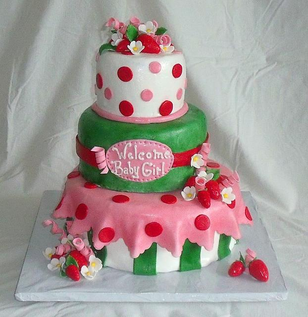 Strawberry Shortcake Baby Shower For Girl Fondant Cake main view