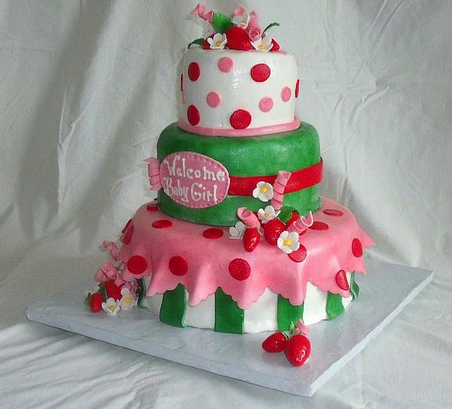 Strawberry Shortcake Baby Shower For Girl Fondant Cake view 2