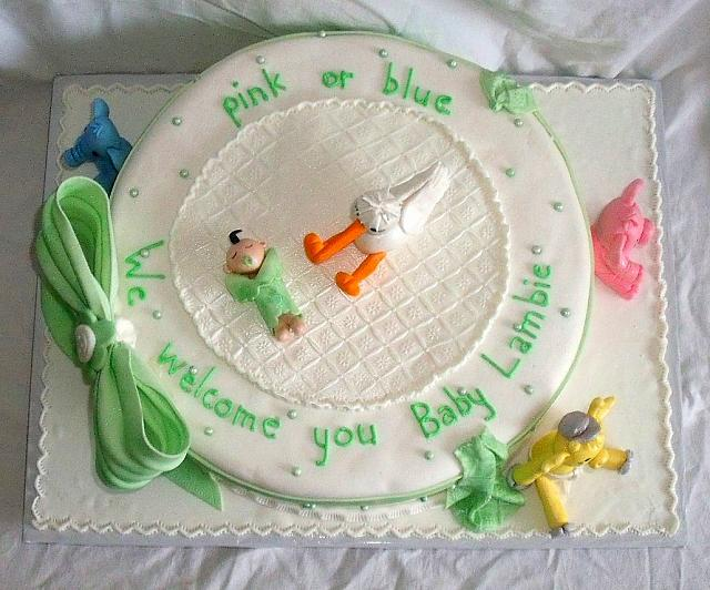 Baby Shower Stork Animals Fondant Cake top view