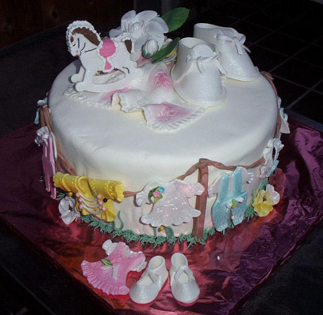 Baby Shower cake with edible clothes