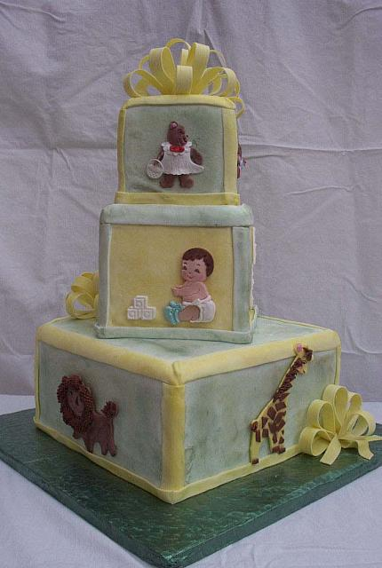 Baby Shower Stacked Block Cake With Gumpaste Animals