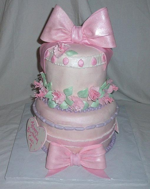Whimsical Birthday Cake for Girl With Fantasy Flowers, Bows main view