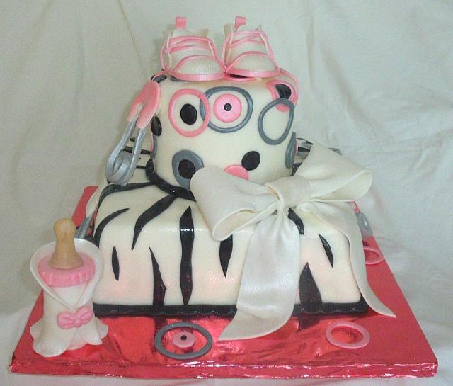 Whimsical Pink, Grey, Black, and White Zebra Striped Baby Shower Cake main view