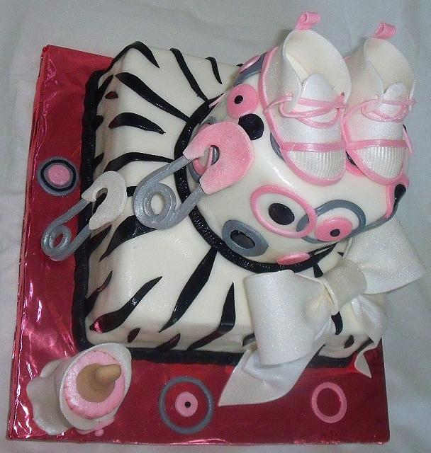 Whimsical Pink, Grey, Black, and White Zebra Striped Baby Shower Cake left side