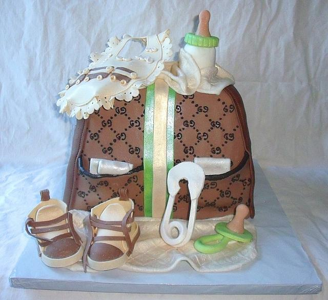 Green, Ivory, and Brown Baby Diaper Bag Fondant Cake main view