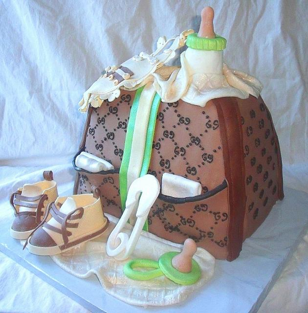Green, Ivory, and Brown Baby Diaper Bag Fondant Cake view 1