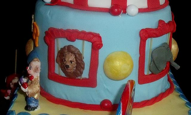 Circus Or Carnival Theme Tiered Cake Lion Animal Close Up