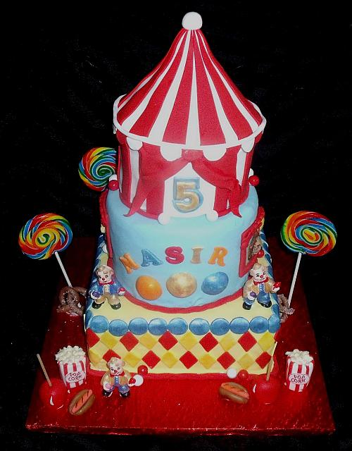 Circus or Carnival Themed Fondant Cake with Edible Clowns, Tent, Animals, and Miniature Carnival Food main view