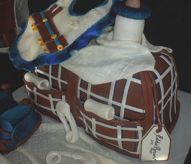 Baby Diaper Bag Fondant Cake with Blue, Brown, White Plaid Pattern close up