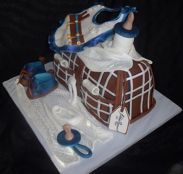 Baby Diaper Bag Fondant Cake with Blue, Brown, White Plaid Pattern main view
