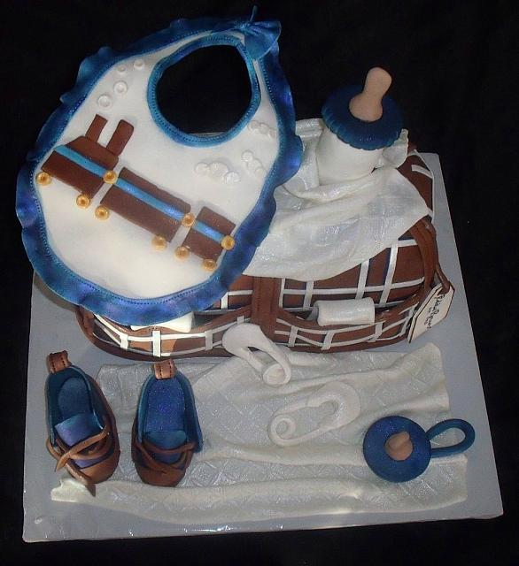 Baby Diaper Bag Fondant Cake with Blue, Brown, White Plaid Pattern top view