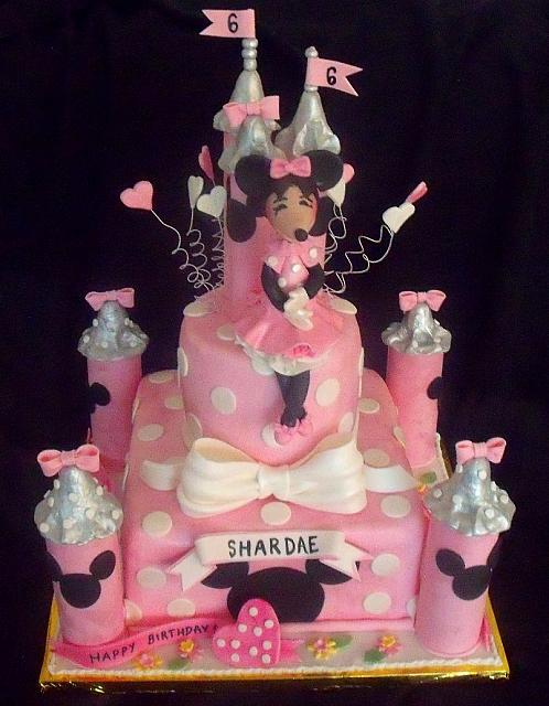 Minnie Mouse Pink and Silver Castle Cake with Minnie Mouse Figurine main view