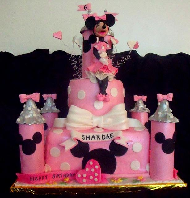 Minnie Mouse Pink and Silver Castle Cake with Minnie Mouse Figurine view 2