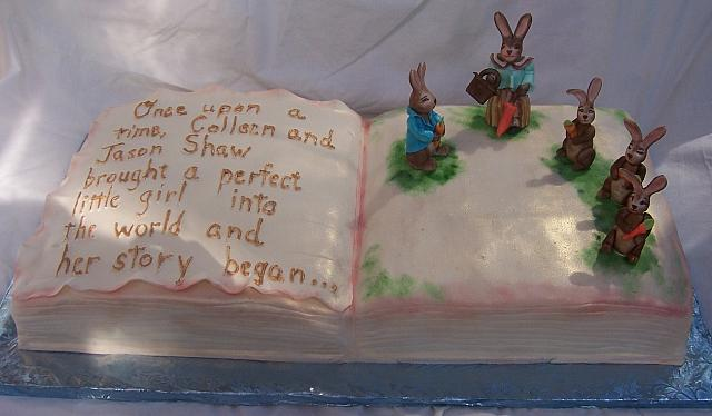 Peter Rabbit Book Cake with gumpaste(also known as sugarpaste) rabbit figurines