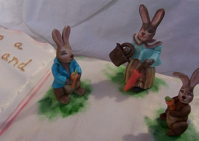Close up of Mrs. Rabbit and Peter Rabbit edible gumpaste decorations