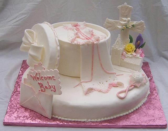 Baby Girl Shower Cake For Baptism or Christening