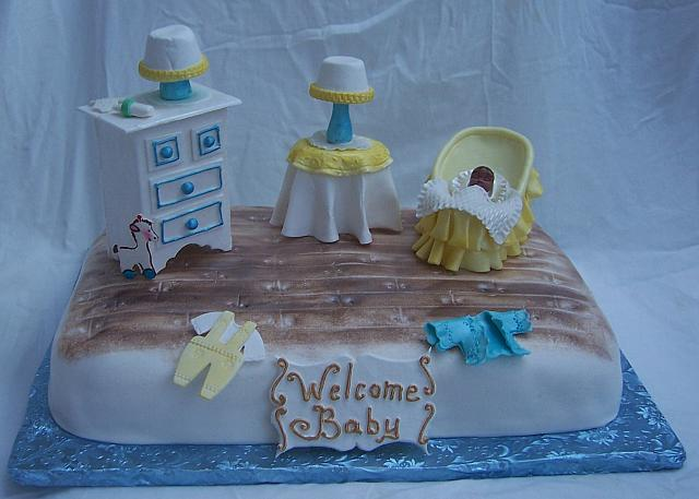 Baby Shower Bedroom Cake front view