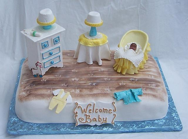 Baby Shower Cake with Edible Furniture