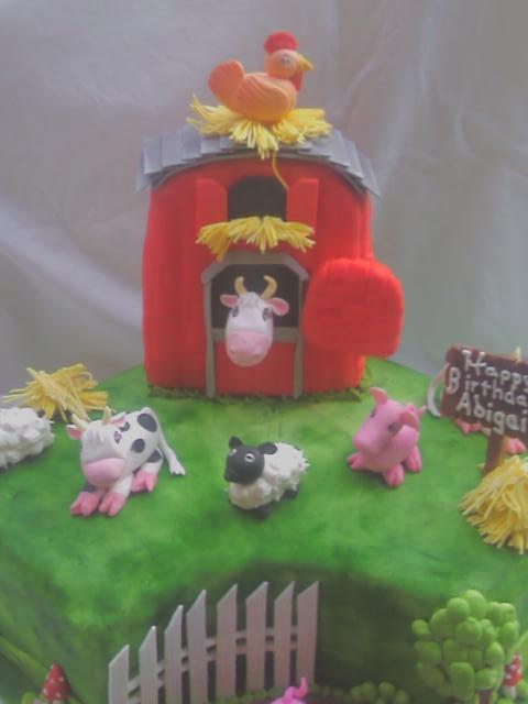 Farm Cake With Barn Close Up